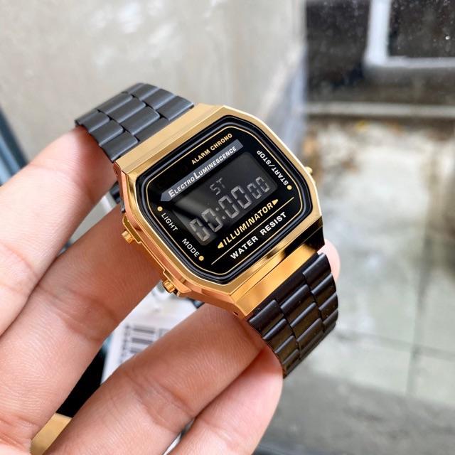 [Mã SKAMPUSH7 giảm 10% đơn từ 150K] Đồng hồ nam A168 dây thép kiểu dáng năng động cho tuổi teen