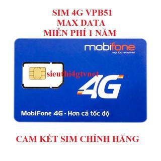 Sim 4G Mobifone Vpbank51 – VPB51 Không giới hạn DATA, MAX băng thông. Trọn gói 12 tháng