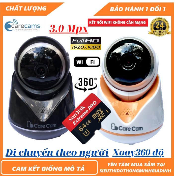 Camera wifi Carecam 18Y5-3.0Mpx-1920x1080p,hình ảnh,hồng ngoại siêu nét,giảm ngược sáng, thế hệ nâng cấp của năm 2020