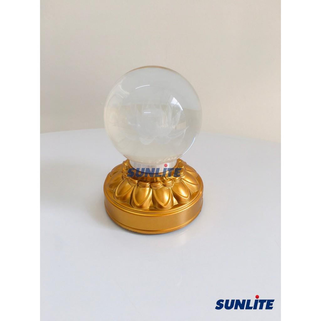 Đèn thờ pha lê mini hình khối cầu bên trong khắc hoa sen siêu đẹp dùng pin  AAA kèm dây sạc (có thể để bàn trang trí)