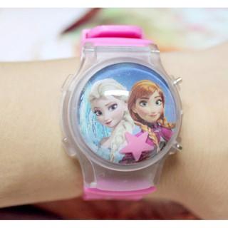 Đồng hồ bé gái chớp đèn có nắp bảo vệ công chúa Elsa
