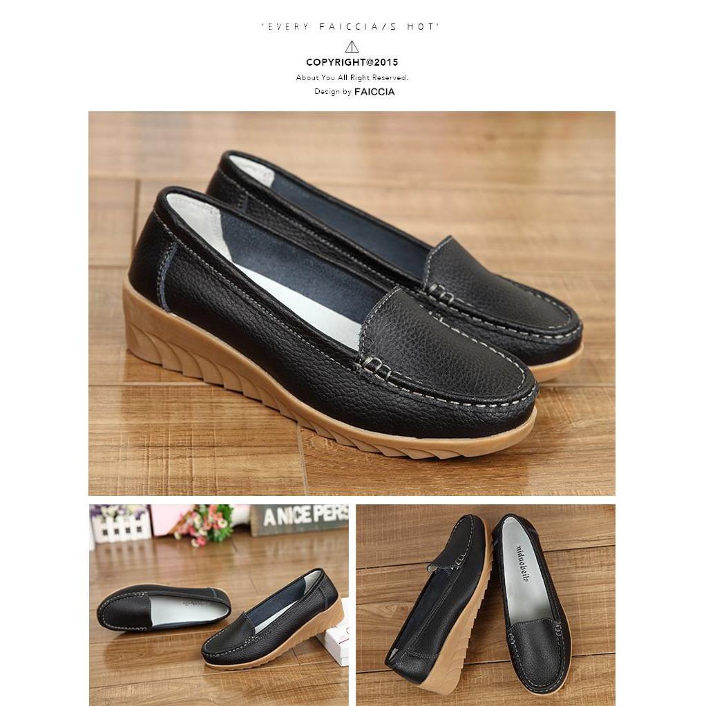 [Mã SKAMSALE10 giảm 10% đơn 200K] Giày moca nữ - Giày mọi nữ da bò mềm đế kếp Quảng Châu cao cấp - Vincent Shop