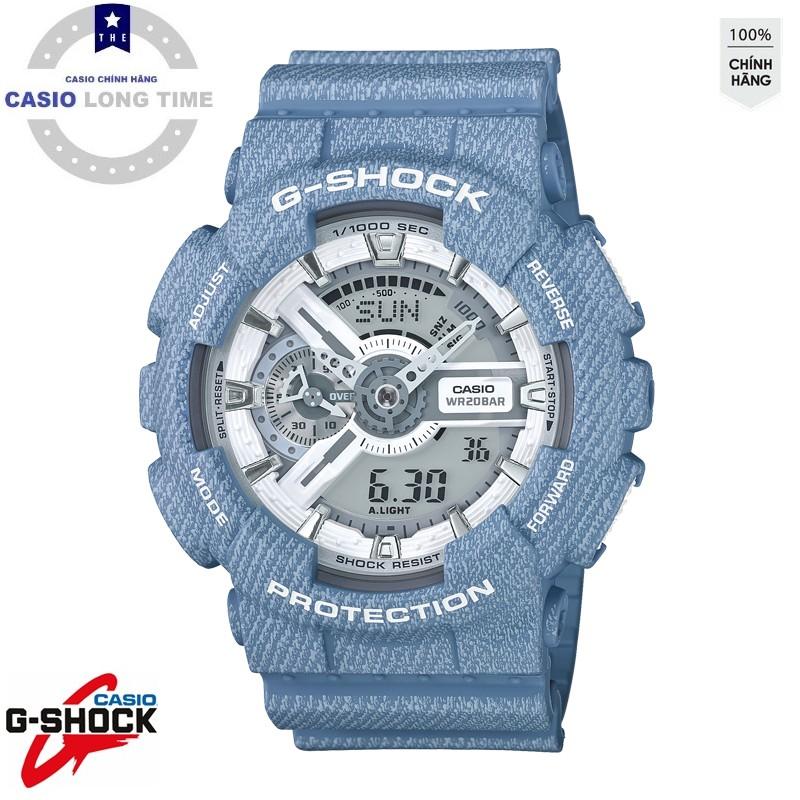 Đồng hồ nam Casio G Shock GA-110DC-2A7DR Dây Nhựa Màu Xanh Hoạ Tiết Jean - Chống Từ