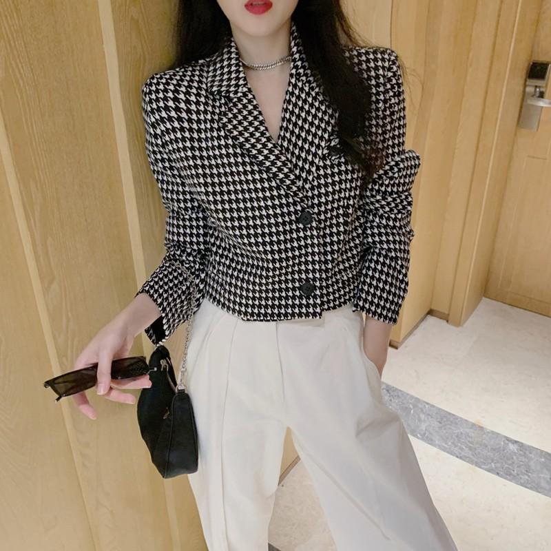 Áo khoác Hồng Kông hương vị houndstooth nhỏ phù hợp với nữ tính khí mùa thu n