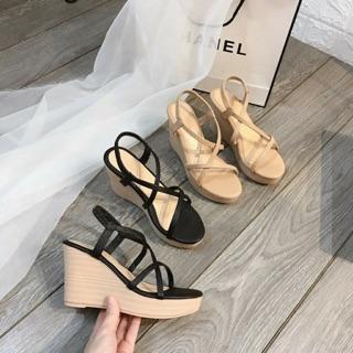 [Bán lẻ bằng giá sỉ] Giày cao gót I Sandal đế xuồng cao 9 phân quai mảnh dễ đi chắc chân thumbnail