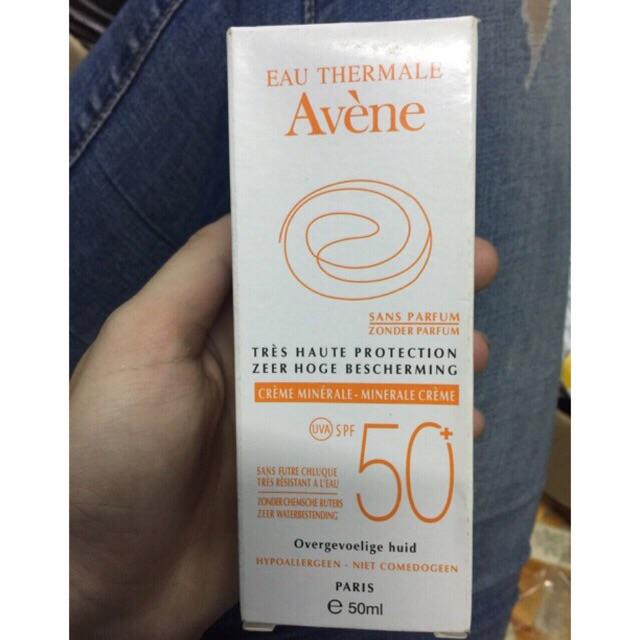 Kem chống nắng SPF 50+ cho da nhạy cảm Avene Very High Protection Mineral Lotion 50+ 50ml Pháp