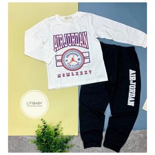 Bộ cotton thu đông in chữ thể thao dài tay trai bé 15-18T(44-58kg).Chất cotton dày dặn, đanh tay. Hình in bền