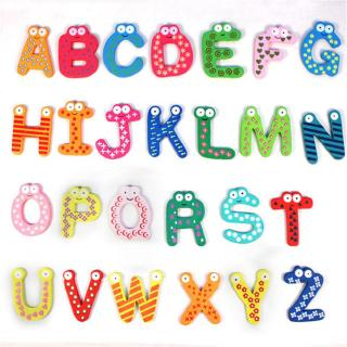 26Pcs/Set Wooden Cartoon Alphabet Magnetic Fridge Sticker Educational Toy Gift