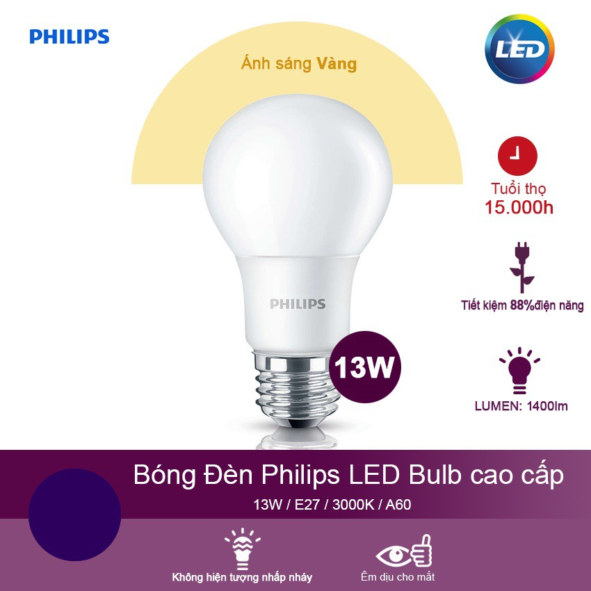 Bóng đèn Philips Ledbulb 13W 3000K đuôi E27 230V A60 - Ánh sáng vàng