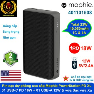 Pin sạc dự phòng cao cấp MOPHIE PowerStation Power Delivery XL 10050mAh ( 1C PD 18W & 1A 12W)