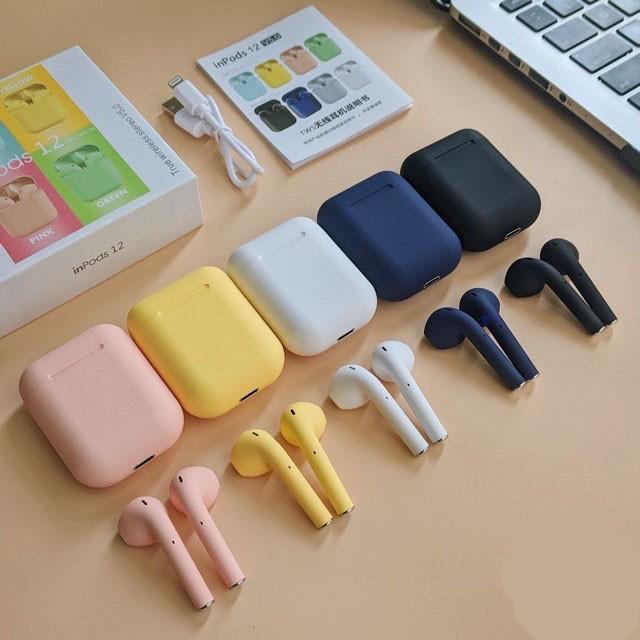 Tai nghe nhét tai không dây Bluetooth 5.0 Inpod i12 TWS có hộp sạc màu macaron