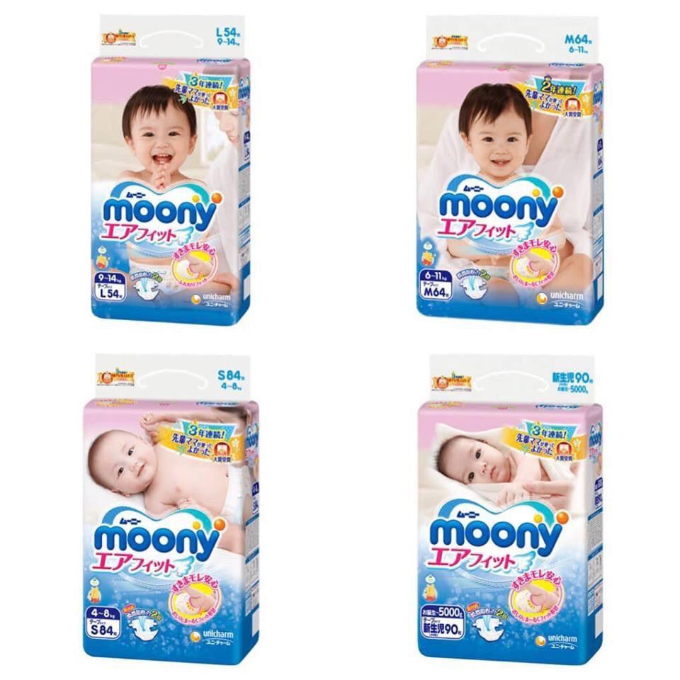 Bỉm Moony 💝FREESHIP💝 Moony Nội Địa Nhật Chính Hãng Cộng Miếng Dán/Quần Đủ Size NB96/S90/M68/L58/L50/XL44