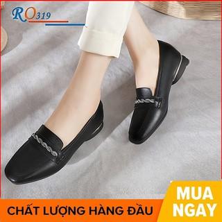 Giày mọi nữ cao cấp đế cao 2 phân hàng hiệu rosata hai màu đen kem ro319