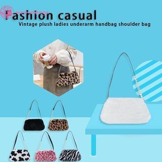 Túi xách tay/ đeo vai vải lông họa tiết da động vật thời trang mùa đông cho nữ