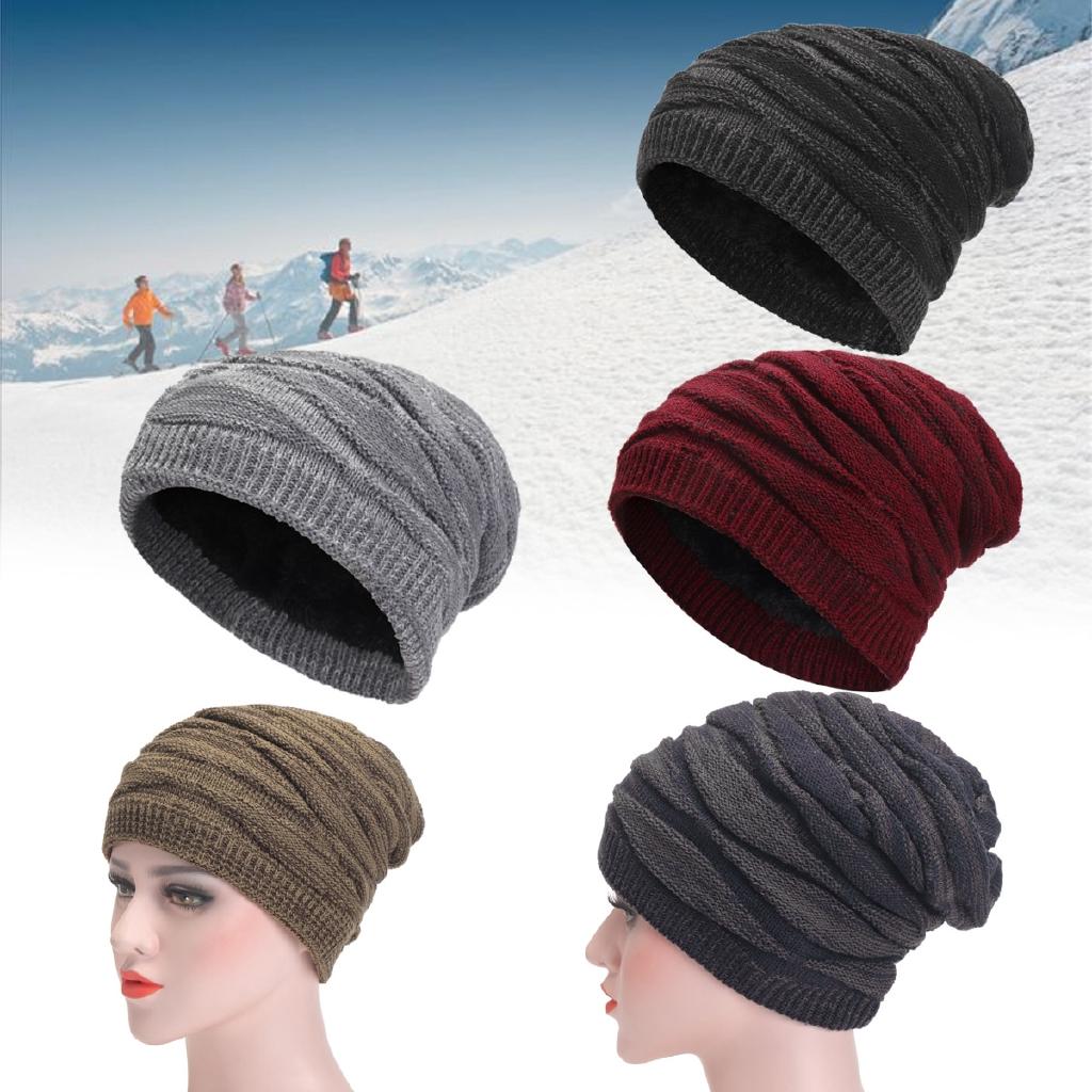 Unisex Winter Warm Baggy Beanie Woolen Yarn Knit Hat Slouchy Baggy Ski Hats