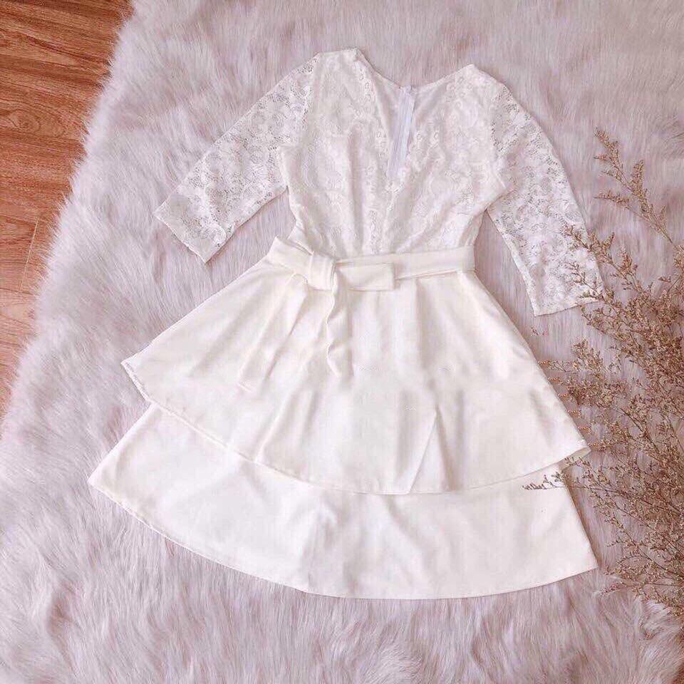 Mặc gì đẹp: Sang chảnh với Đầm dự tiệc dáng xòe cổ tim đẹp lộng lẫy, đầm ren trắng siêu xinh Pie Dress