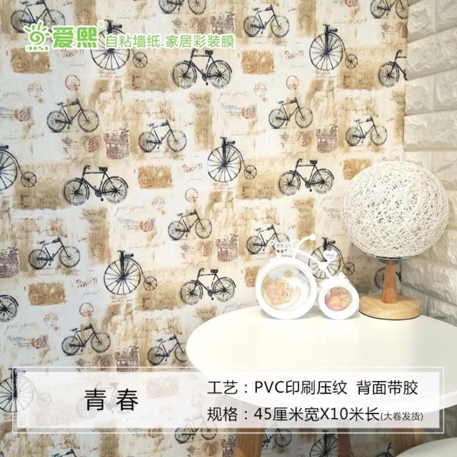 Giấy dán tường xe đạp kute .1 cuộn dài 10 mét khổ rộng 45cm - 3599752 , 1241078073 , 322_1241078073 , 110000 , Giay-dan-tuong-xe-dap-kute-.1-cuon-dai-10-met-kho-rong-45cm-322_1241078073 , shopee.vn , Giấy dán tường xe đạp kute .1 cuộn dài 10 mét khổ rộng 45cm