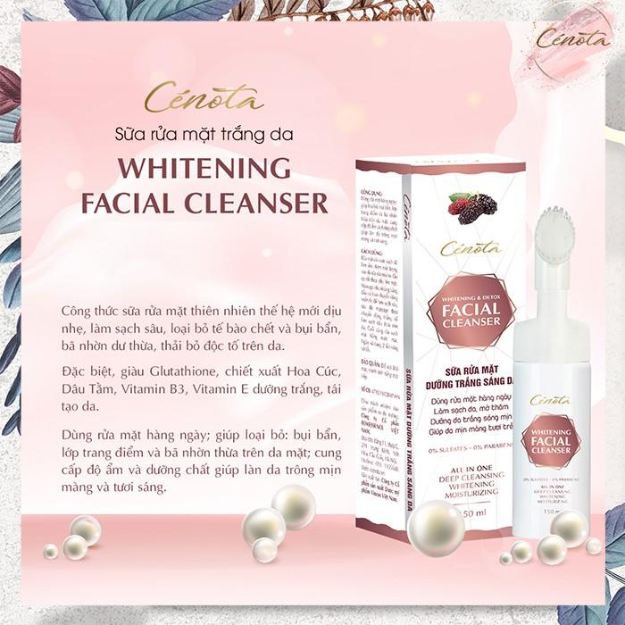 Sữa rửa mặt trắng da Cénota Whitening Facial Cleanser 150ml, sữa rửa mặt trắng da dưỡng trắng - mã C03 - Freeship