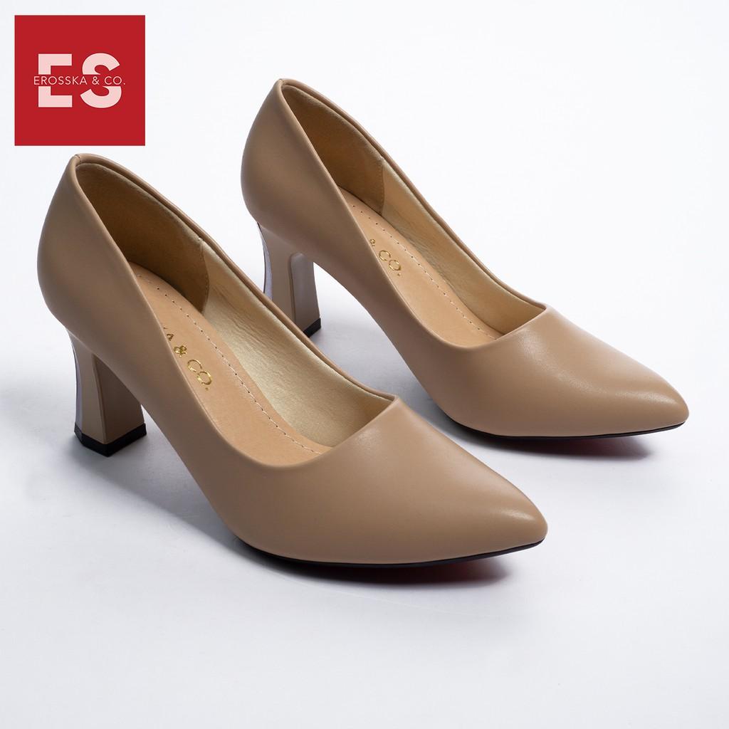 Giày cao gót Erosska thời trang mũi nhọn gót vuông kiểu dáng cơ bản cao 7cm màu nude _ EP007