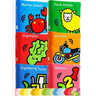 Bộ 6 cuốn sách vải Lakarose chủ đề Marine animail, Farm animal, Vegetables, Vehicles, Engineering Trucks, Numbers