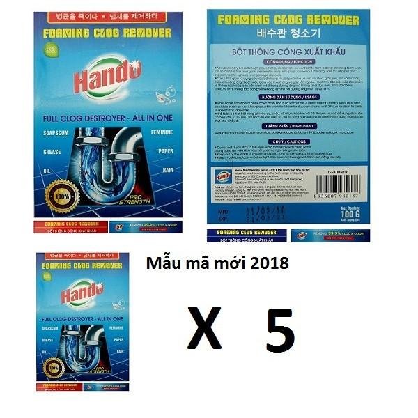 Bộ 5 gói bột thông cống xuất khẩu Hando 100g