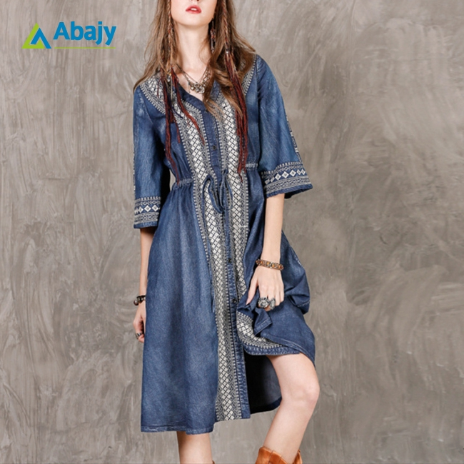Women Ethnic Style Embroidered Drawstring Leisure Dress