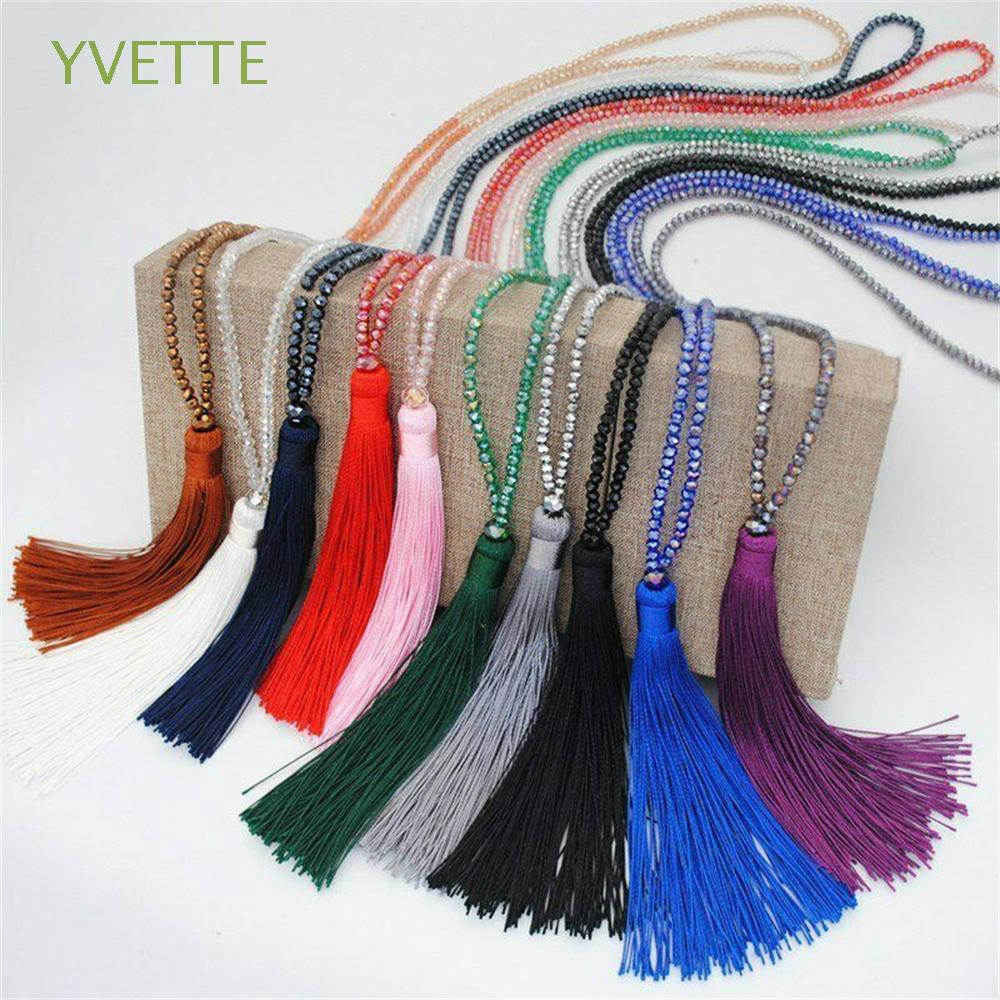 YVETTE Bohemian Fashion Accessories Jewelry Fashion Statement Silk Tassel Pendant Necklace