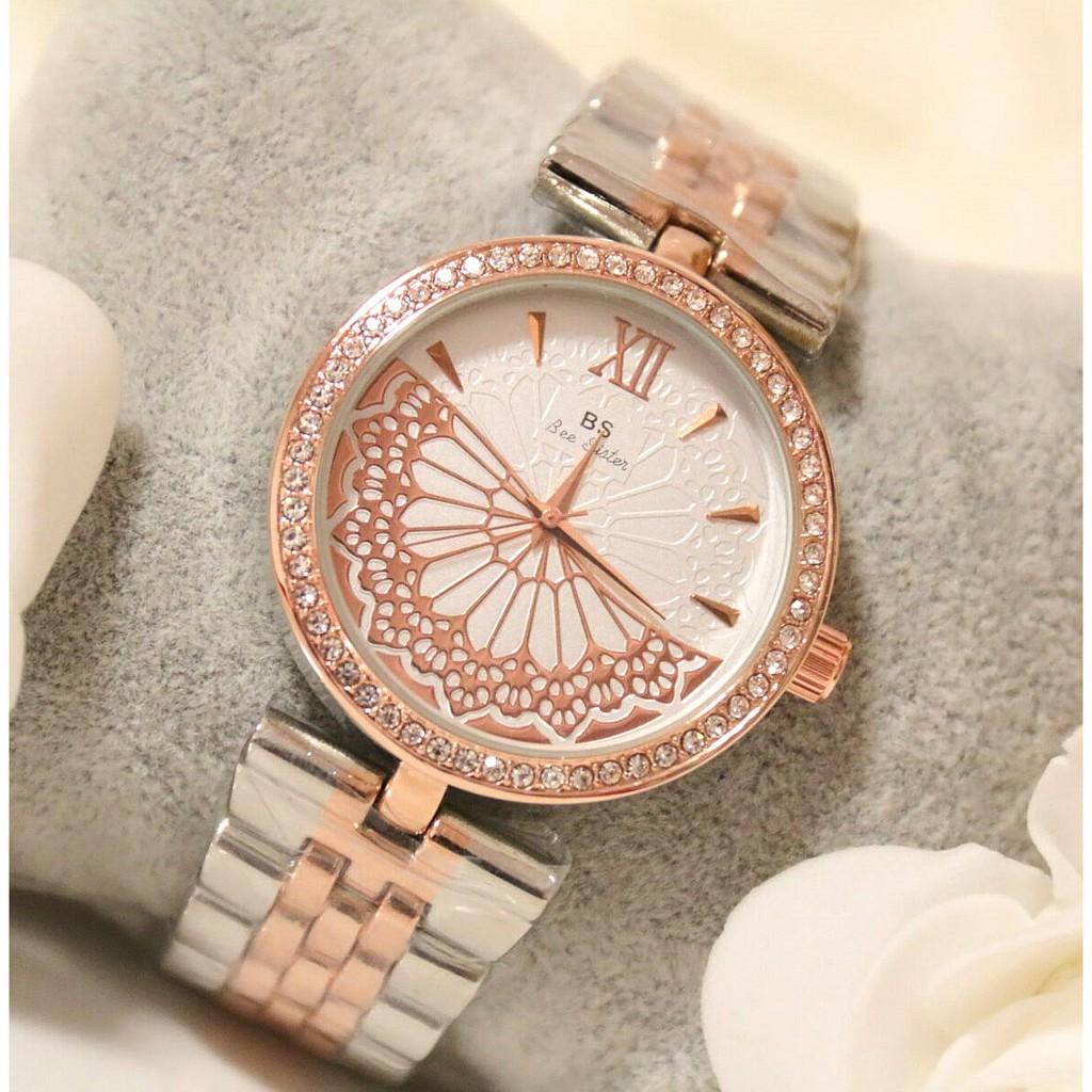 Đồng hồ nữ Bee Sister chính hãng dây kim loại mặt đính đá cực đẹp (Bạc viền vàng hồng)