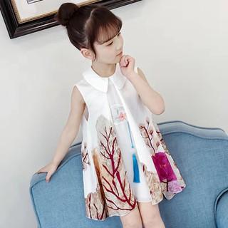 (NT023) Váy bé gái cổ bẻ họa tiết sống động siêu ngộ nghĩnh đáng yêu