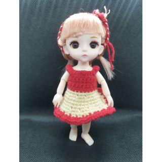 Set đầm len đỏ + Turban size 1/8