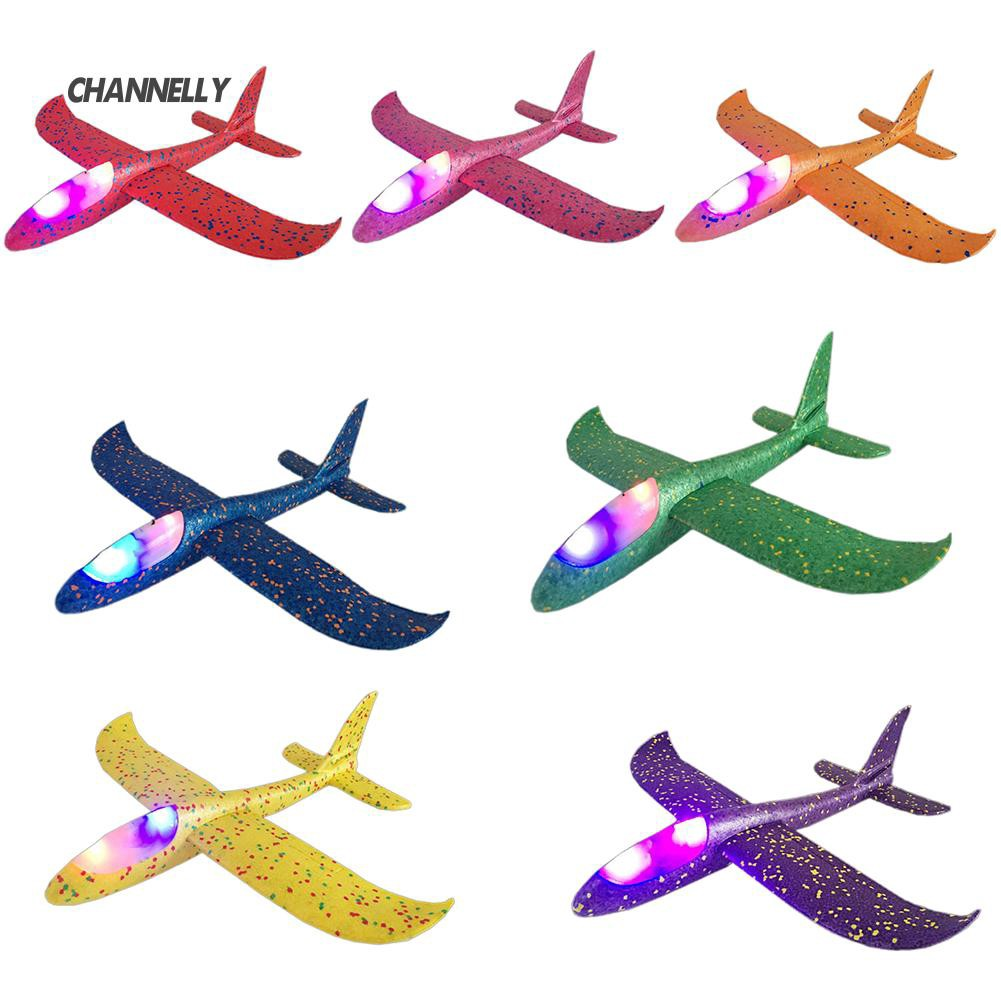 ■Cy Colorful Manual Airplane Aircraft Toy Light Throwing Hand Glider Kid Gift
