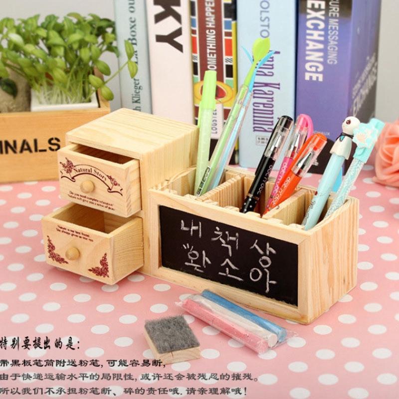 Wooden penholder engraving DIY multi-function Korean cute office supplies wooden