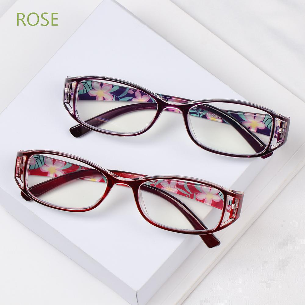 ROSE Women Anti-Blue Light Eyeglasses Elegant Ultra Light Frame Reading Glasses Portable Fashion Flowers Comfortable Vintage Eye Protection/Multicolor