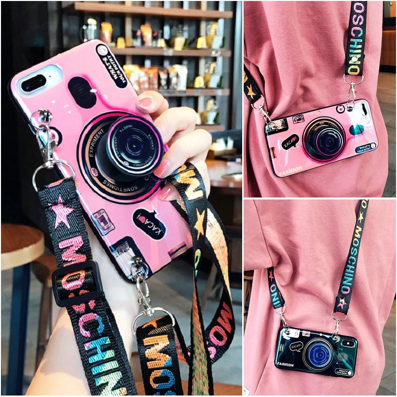 Ốp lưng kiểu máy ảnh và dây đeo thời trang cho Samsung Galaxy A50 A30 M20 M30 M10 A10 A20 A40 A70 A80 A90