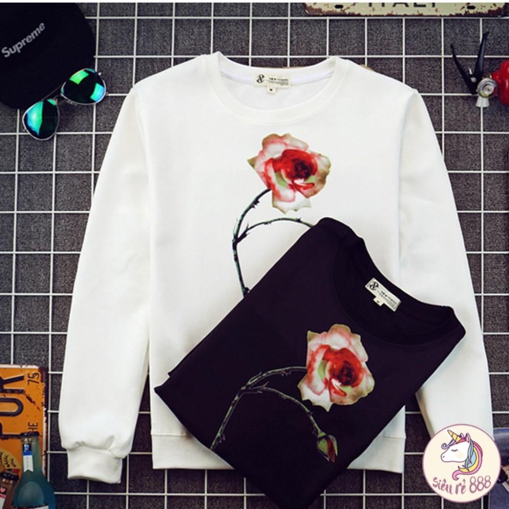 Áo nỉ xốp hoa hồng lót lông - AR47