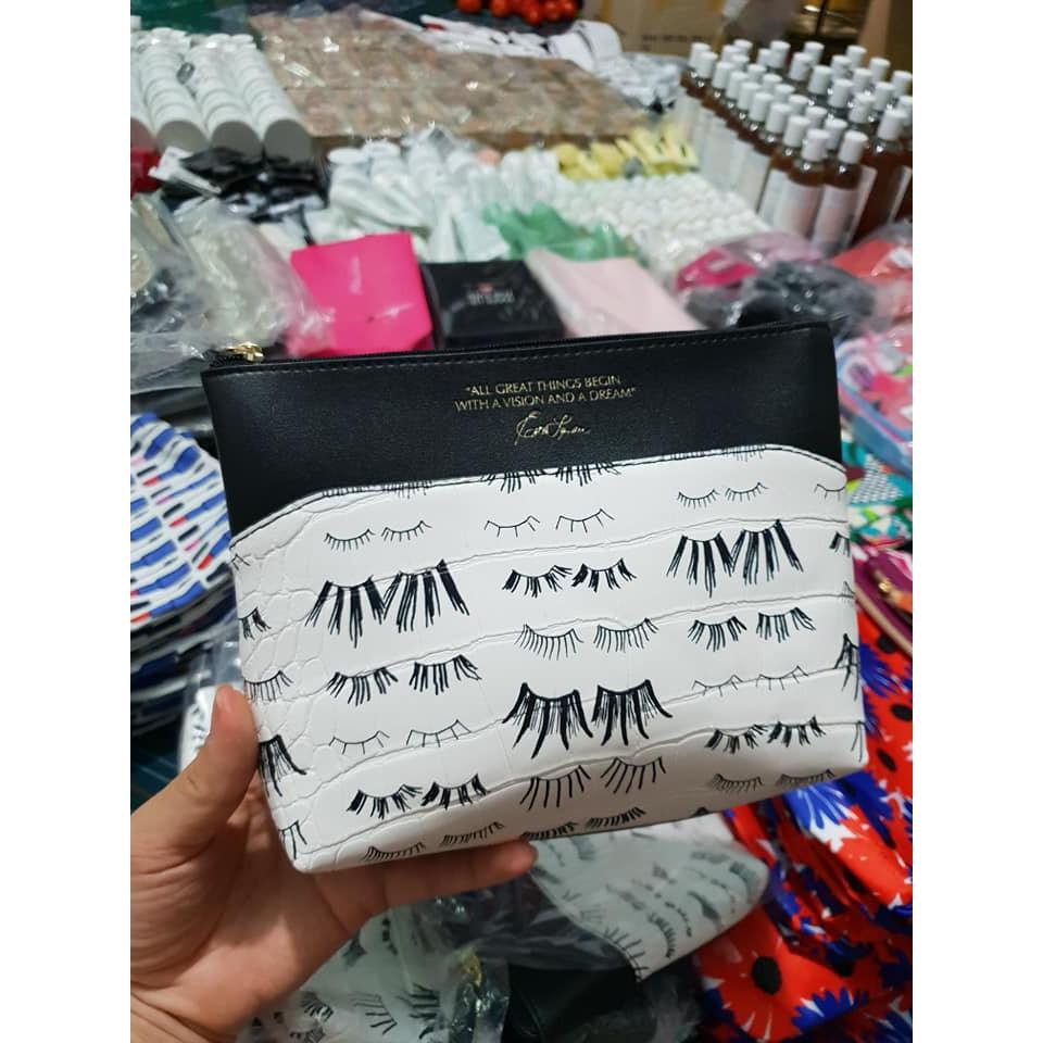 Túi mỹ phẩm Estee Lauder họa tiết mi mắt dài 24cm rộng 5.5cm cao 15cm