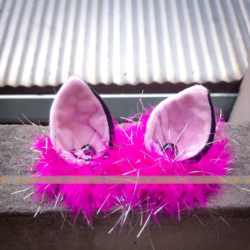 Mũ nón bảo hiểm 3/4 NTMAX màu hồng pha trắng lót hồng gắn tai mèo siêu cá tính - Mũ bảo hiểm tai thỏ FungFing Thái