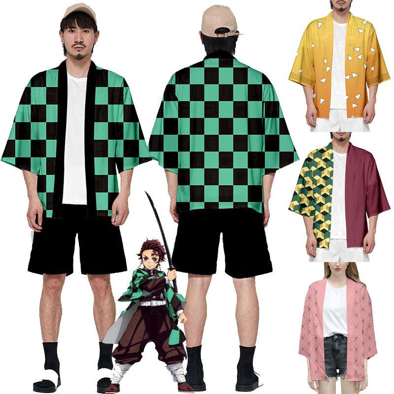 Áo khoác haori dáng rộng cosplay nhân vật Kamado Nezuko trong anime Demon Slayer: Kimetsu no Yaiba nhật bản
