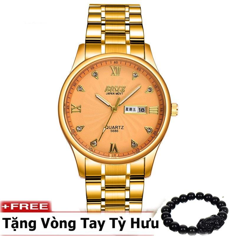 Đồng hồ nam dây thép không gỉ cao cấp BOSCK BK3386B ( Mặt vàng ) + tặng kèm vòng tay tỳ hưu