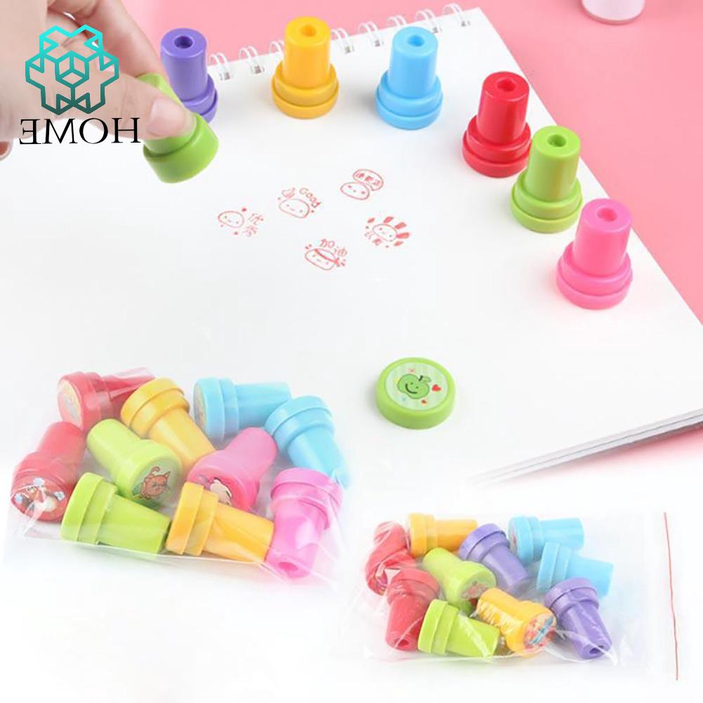 ♚10pcs Toy Stamp with Multi Color Ink Stamps Children DIY Craft