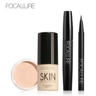 Bộ 4 sản phẩm trang điểm FOCALLURE gồm kem nền + phấn phủ + bút kẻ mắt + mascara