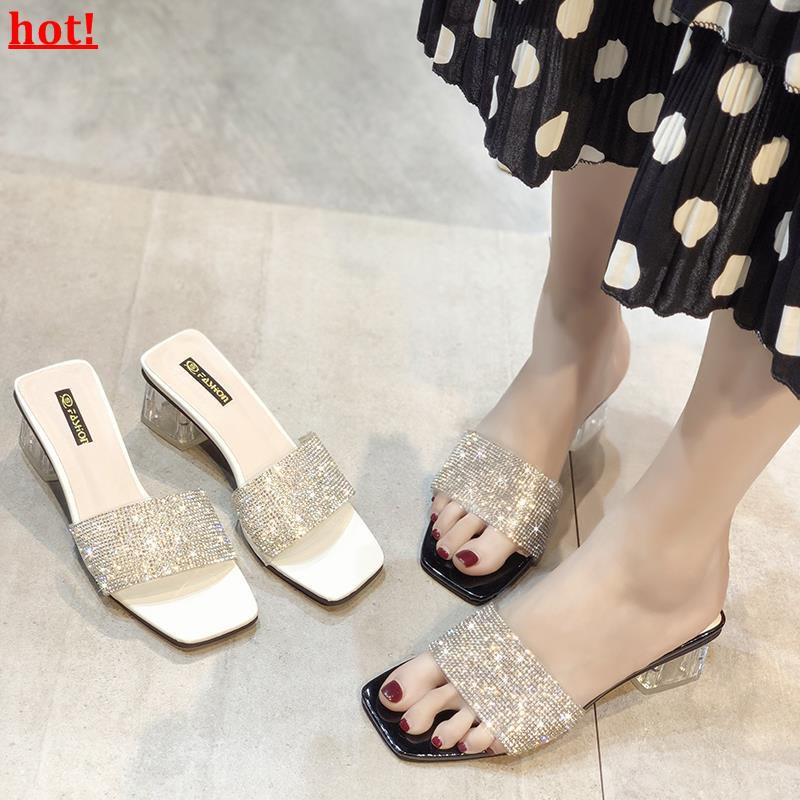 Chic girl high heel slippers female summer wear 2019 new Korean version of the w