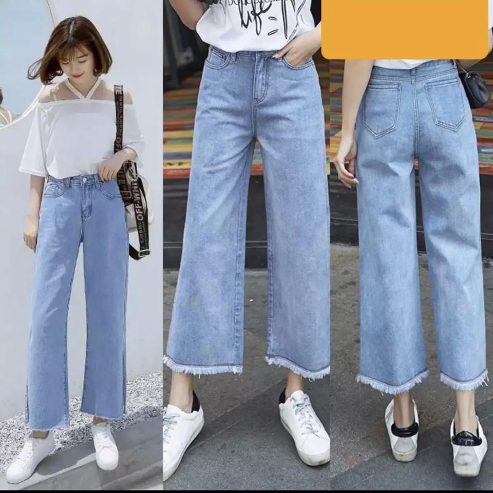[Mã WASEPRN hoàn 20% xu đơn 99k] quần jean nữ dài lưng cao ống loe thời trang 2020