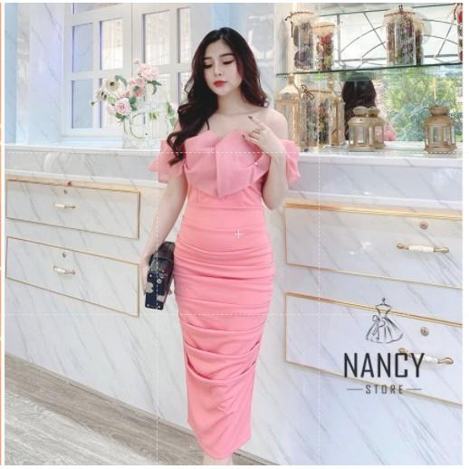 Váy đầm nữ body cao cấp dự tiệc cúp ngực tay trễ hồng babe, sang chảnh Nancy A44