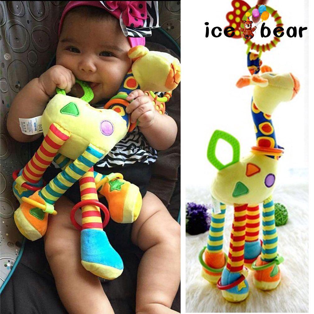 Giraffe Stuffed Animal Toy Baby Bed Hanging Stuffed Doll Soft Plush Toy ICEBEAR