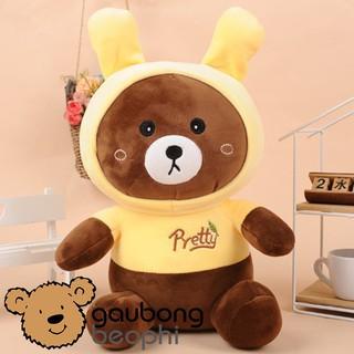 Gấu Bông Brown Nâu Mặc Đồ Tai Thỏ – Nhiều Size – Vải Nhung Siêu Mịn – Quà Tặng Valentine 14/2 Cho Nàng