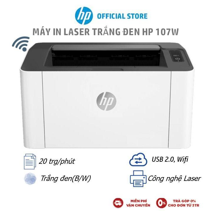 [Mã ELHPSEP giảm 9% đơn 2TR] Máy in Laser trắng đen HP 107w Printer (In, Wifi, Trắng) 4ZB78A) - Hàng Chính Hãng