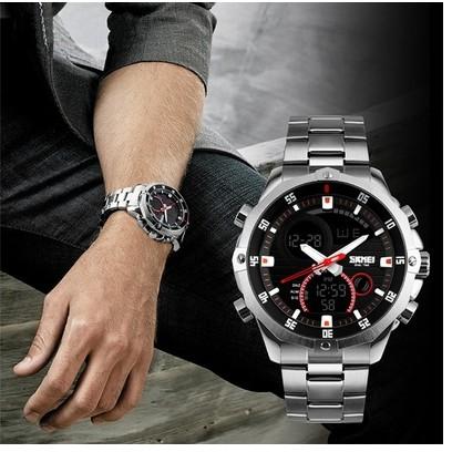 Đồng hồ nam Skmei dây trắng chạy kim và điện tử