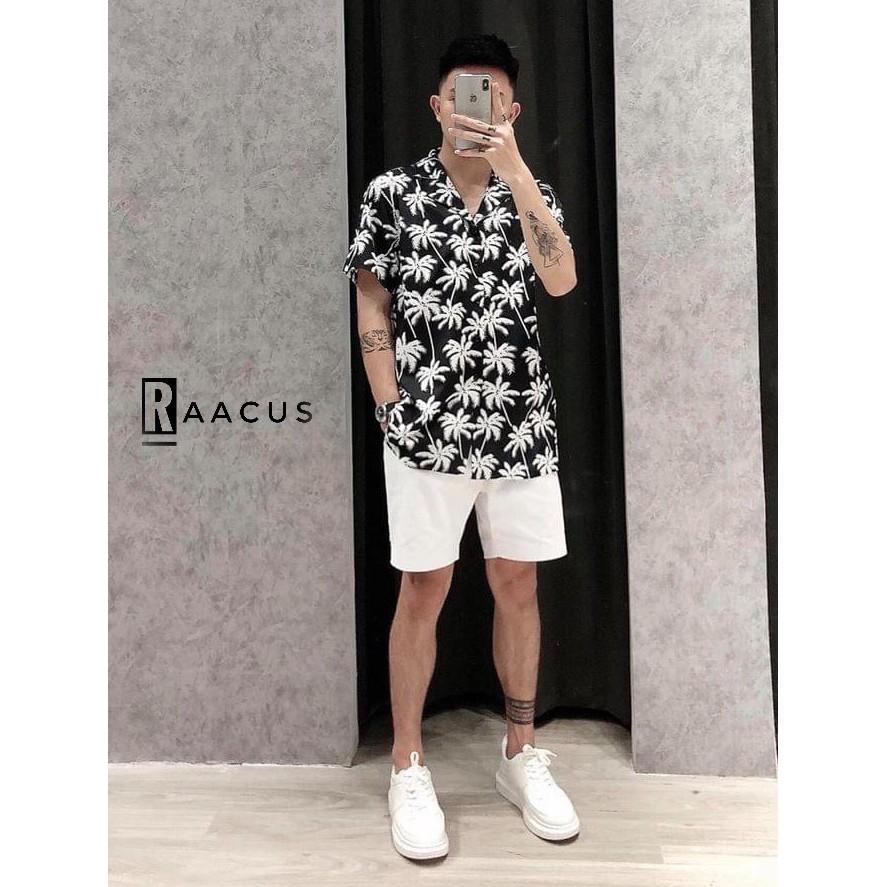 Áo sơ mi nam ngắn tay họa tiết cây dừa kiểu unisex Hàn Quốc đẹp, áo sơ mi nam họa tiết đi biển chất lụa RAACUS-A088