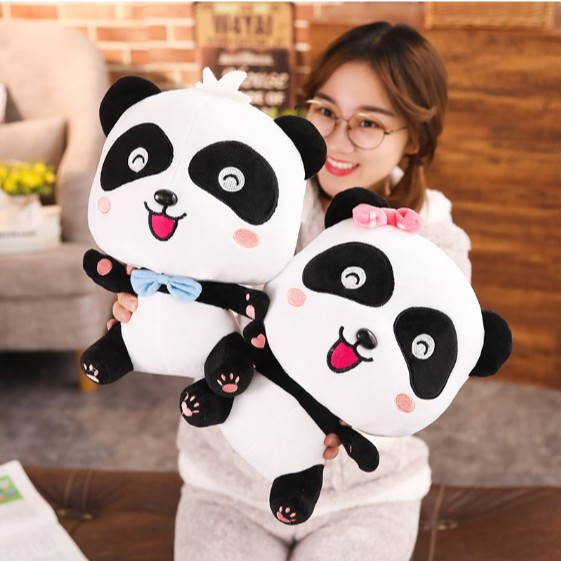 [XẢ HÀNG] Gấu bông Gấu trúc panda cho bé – Thú bông nhập khẩu cao cấp – Chiều cao 45cm nơ hồng